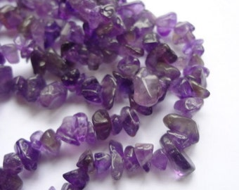 "4-8mm Chip Natural Amethyst Semi Precious Gemstone Beads - 35.5"" Strand"