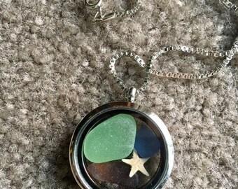 Sea Glass Floating Locket Pendant Necklace-Gift Idea-Valentine Gift Idea - Beach Locket - Beach Jewelry - Valentines Day - Valentine