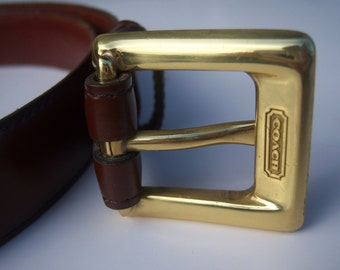 Coach leather belt / brown leather dress belt / brass buckle / designer belt, womens sm xs 25.5-29.5