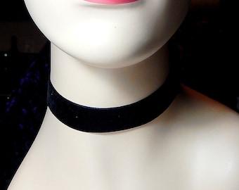 Wide Black Velvet Choker Necklace, Boho Necklace, 90s Jewelry, Grunge, Retro