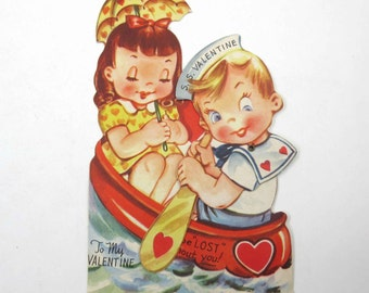 Vintage Mechanical Valentine Greeting Card with Cute Boy and Girl in Boat on Water