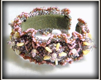Under the Sea Bead Embroidered and Peyote Stitched Cuff Bracelet with ruffle by Hannah Rosner