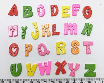 20pcs of  Alphabet Button Letter Button - Choose Your Own Letter Set 033 Green  Orange Yellow Pink Red