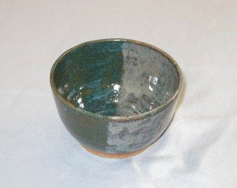 Ice Cream Bowl - Jade/Turquoise Green and Pale Blue - Stoneware Pottery - Free Shipping