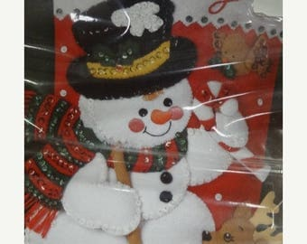 "Bucilla Stocking Pattern, Snowman Felt Bucilla Pattern Kit 84951 ""Snowman & Friends"" Jeweled Christmas Stocking Pattern, Monogrammed"