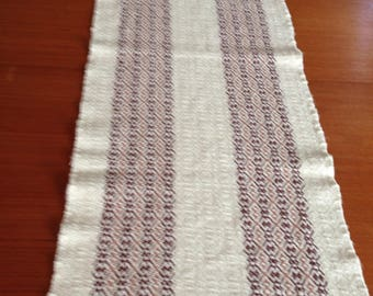 Handwoven table runner in natural cotton with brown and tan stripes