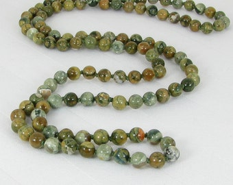 Long Hand-Knotted Rhyolite Necklace