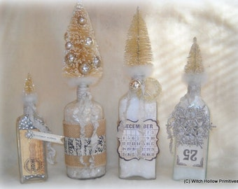 OOAK Christmas Apothecary bottles with bottle brush tree toppers cottage chic holiday decor