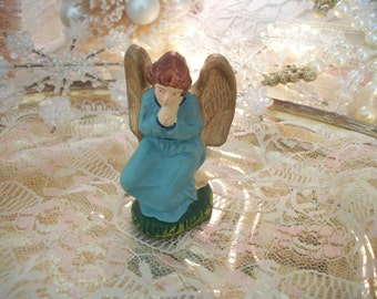 vintage blue & gold nativity figure winged kneeling angel, christmas decor, crèche manger scene, old holiday decorations