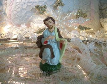 vintage nativity replacement figure, joseph, christmas crèche, mid century japan, kneeling