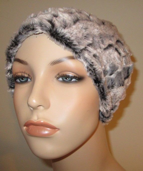 Cancer, Chemo Hat Black Gray  Furry  Comfort Hat, Alopecia, Turban