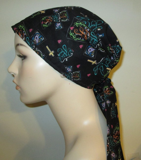 Religious Print  Chemo Scarf, Hat, Cancer Hat Alopecia MADE in USA Christian Themed Chemo Hat
