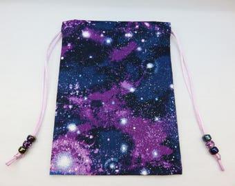 Purple and Blue Celestial Silk Lined Tarot Card Pouch, Tarot Card Bag, Handmade 5 x 7