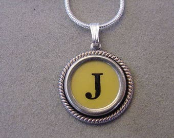 Typewriter key jewelry necklace Butter CREAM  LETTER J  Typewriter Key Necklace - Initial J serif font Initial Necklace J