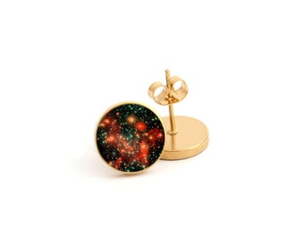 Nebula Outer Space Galaxy Photo Earring Stud Earring Stainless Steel Earring (EP 142)