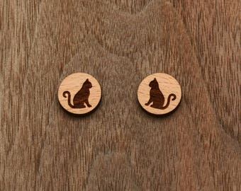 8 pcs Cat Wood Charm,Carved,Engraved,Earring Supplies,Cabochons (WC 131)