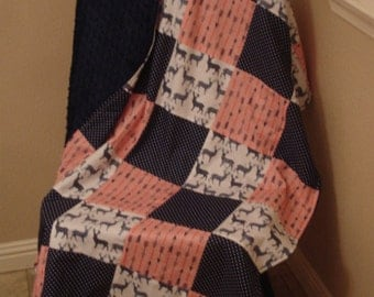 Meadow Deer and Arrows Rustic Coral and Navy Minky Blanket 38 x 50 READY TO SHIP On Sale