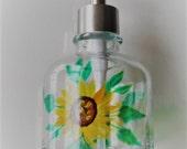 Sunflower Soap Bottle Sunflower Soap Dispenser Hand Painted Sunflower Lotion Bottle Sunflowers Glass Bottle