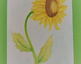 Watercolor Sunflower Card Hand Painted Watercolor Sunflower Card