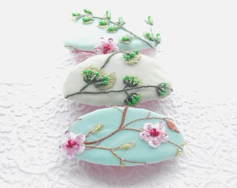 Cherry blossom tree pink green aqua floral embroidered beaded hair barrette, bridal hair clip, thick hair clip barrette