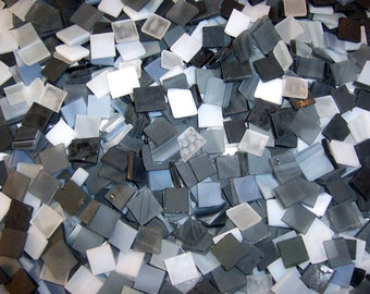 3/8 Inch Shades of Blacks and Whites Mini Mix Color Tumbled Stained Glass Mosaic Tiles