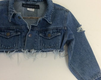 Kids Cropped Distressed Denim Jacket 5/6
