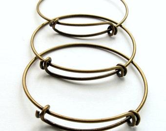 Antique Bronze Adjustable Bangle Bracelets 67mm - Set of 5 - Brass Expandable Charm Bracelet, Adjustable Bangle Wire Loop Bracelet (GFD0031)
