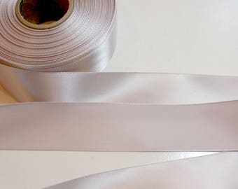 Pink Gray Ribbon, Single-Faced Pink Gray Satin Ribbon 1 1/2 inches wide x 10 Yards, SECOND QUALITY FLAWED