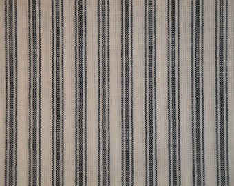 Blue And White Ticking Material | Blue Stripe Material | Homespun Material | Homespun Ticking Material |  1 Yard