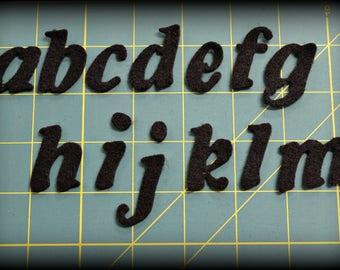 """Die cut 1.25"""" Fancy  alphabet lower case - craft felt your color choice"""
