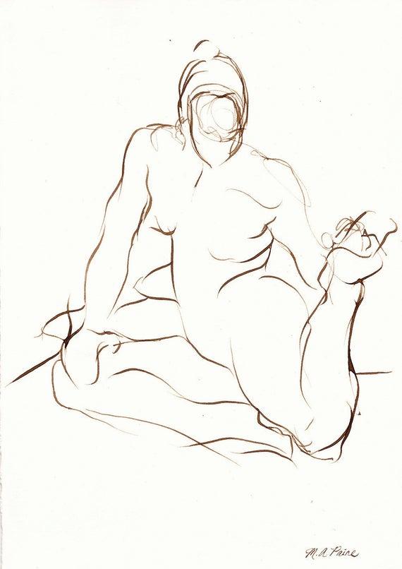 Yoga-Zeichnung Geste Stretch Tinte auf dem von michellearnold