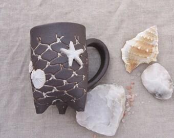 SALE. Ocean pottery Mug, single Black and white ocean inspired handmade pottery, wedding gift Organic fishnet tripod mug