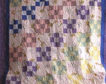 Vintage Children's Patchwork Quilt Purple Blue Giraffe Turtle Rabbit 51 x 86 Cottage Shabby Childs's Room