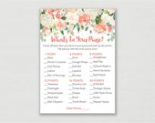Floral Bridal Shower What's In Your Purse Game / Floral Bridal Shower / Watercolor Floral / Peach Floral / Printable INSTANT DOWNLOAD B102