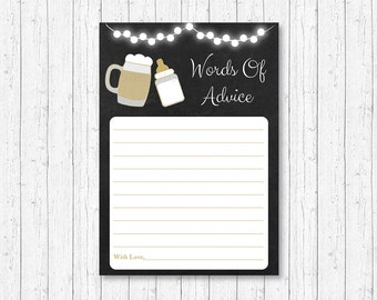 Baby Is Brewing Mommy Advice Cards / Baby Is Brewing Shower / BaByQ Shower / BBQ Shower / Words of Wisdom / Printable INSTANT DOWNLOAD A116