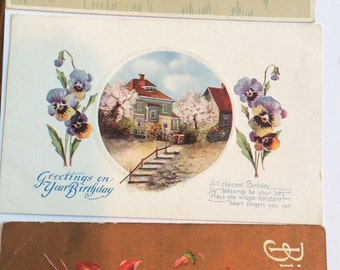 Victorian Pansy Postcards Pansies Mother's Day Birthday Lot