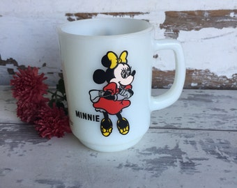 Vintage Minnie Mouse Mug - Pepsi Series - Anchor Hocking Milk Glass Advertising Mug