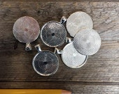 Destash Supplies: 65 Blank 1 inch Pendant Trays , metal alloy - Round . Bright Silver. Bezels Settings 25 mm Photos Charms. Clearance Sale
