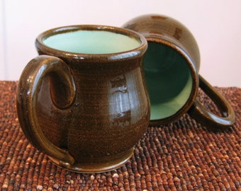 Pottery Mugs - Large Coffee Mugs - Set of 2 Stoneware Ceramic Pot Belly Cups in Chocolate Mint 14 oz.
