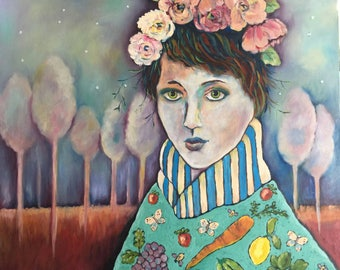 Organic Girl Oversized Oil on Wood by Dee Sprague