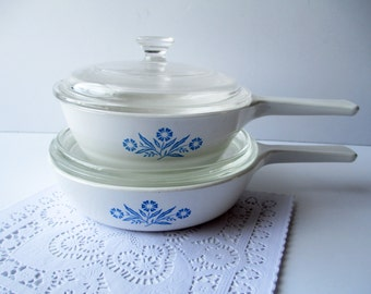 Vintage Corning Cornflower Blue Sauce Pan Set of Two - So Seventies