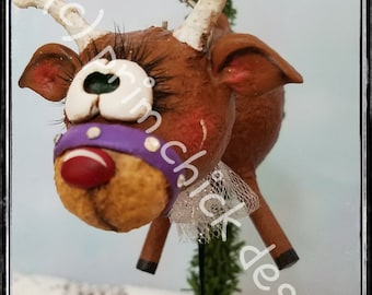 REINDEER ORNAMENT original hand painted purple sculpted Christmas prim chick designs lisa robinson ofg teamhaha