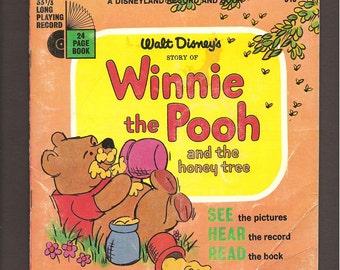 Walt Disney's Winnie the Pooh and the Honey Tree - Vintage 33 1/3 PRM Disneyland Records Book and Record Set #313 c. 1966