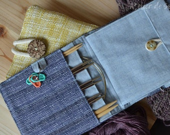 Interchangeable knitting needle case to go needle traveller needle organizer