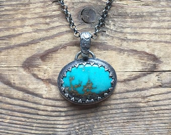 Ornate oxydized sterling silver and chinese turquoise pendant with chain