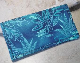 Checkbook Cover, Checkbook Wallet,Tropical Blue Hawaiian Print Fabric, Beach, Blue Palm Tree Fabric, Bill Fold Wallet