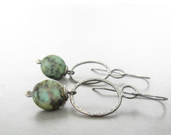 Green Stone and Silver Earrings, Oxidized Jewelry, Metalwork Earrings, African Jasper and Silver Dangle Earrings