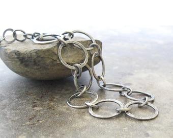 metalwork fine silver links bracelet, oxidized silver bracelet, minimalist silver bracelet, metalwork bracelet
