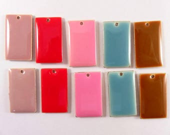 BOGO - 10 Assorted Rectangle Enamel Drop Epoxy Charm Bead 23x13mm Double Sided Mix - 10 pc - MS11053-10 - Buy 1, Get 1 Free