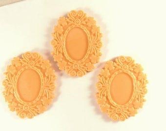 BOGO - 3 Light Orange Cabochon Frame Resin Cameo Setting 50x39mm takes 25x18mm Cab - 3 pc - A1006CF-LO3 - Buy 1 pk, Get 1 Free - no coupon